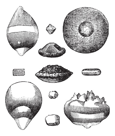 hail: Different forms of hail vintage engraving. Old engraved illustration of different forms of hail.