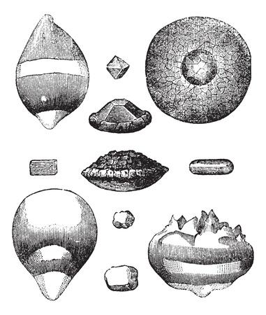 granizo: Las diferentes formas de grabado de la vendimia de granizo. Ilustraci�n del Antiguo grabado de diferentes formas de granizo.