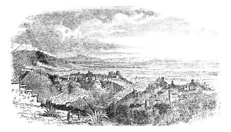 Bekijk van het dorp in Granada, Andalusië, Spanje vintage graveren. Oude gegraveerde illustratie van uitzicht op het platteland van Granada, 1890.