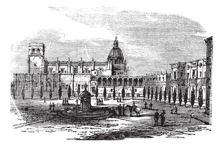 Cathédrale historique de Guadalajara, au Mexique, vendange, gravure. Ancien illustration gravé d'église à Guadalajara, 1890. Banque d'images - 13771701