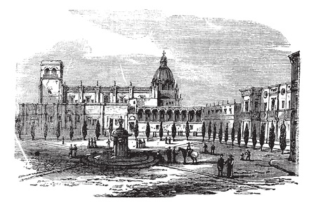 Historic cathedral building at Guadalajara, Mexico vintage engraving. Old engraved illustration of church building at Guadalajara, 1890s. Vector