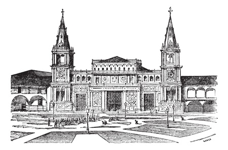 Cathedral of Guayaquil or Cathedral of Saint Peter[, Ecuador. Old engraved illustration of Cathedral of Guayaquil,1800s. Vector