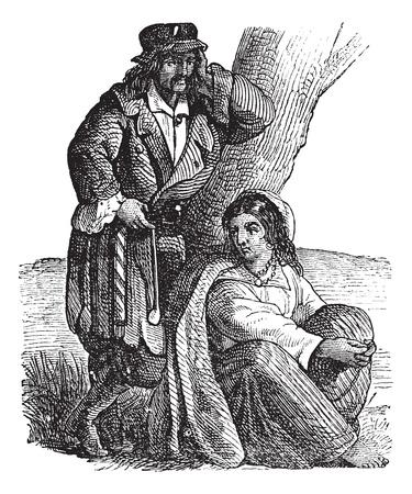 gitana: Pareja joven gitano por el grabado del árbol de la vendimia. Ilustración del Antiguo grabado de una pareja gitana, mujer que se sienta mientras que el hombre apoyado en el árbol.