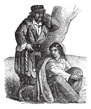 Young gypsy couple by tree vintage engraving. Old engraved illustration of gypsy couple, woman sitting while man leaning on tree.