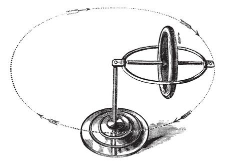 axle: Gyroscope vintage engraving.Old engraved illustration of gyroscope.