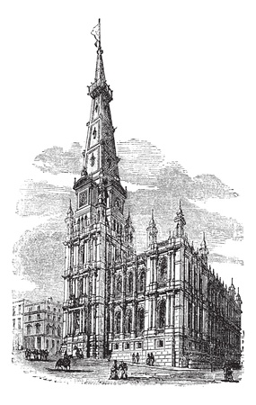 yorkshire: The Town Hall, Halifax, West Yorkshire vintage engraving. Old engraved illustration of town hall at Halifax, 1800s.