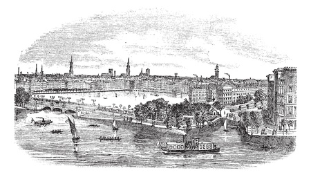 Canal and buildings at Hamburg,Germany vintage engraving. Old engraved illustration of beautiful view of hamburg, during the 1800s.