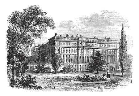 Hampton Court Palace, Londen, Engeland vintage graveren. Oude gegraveerde illustratie van Hampton Court Palace, 1800. Stock Illustratie