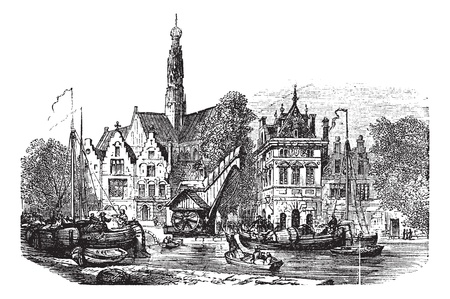 Grain market and Saint-Bavochurch docks, in Haarlem,  Netherlands vintage engraving. Old engraved illustration of Grain market and Saint-Bavochurch dock in Haarlem, during the 1890s.