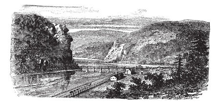 ferry: Harpers ferry, West Virginia, United States vintage engraving. Old engraved illustration of beautiful view of harpers ferry during 1890s.