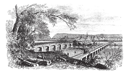river bank: Harrisburg,Pennsylvania, United States View from the left bank of the Susquehanna vintage engraving. Old engraved illustration of bridges across the river at harrisburg, during 1890s. Illustration
