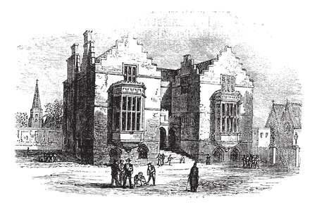 harrow: Harrow school vintage engraving. Old engraved illustration of harrow architecture, during 1800s. Illustration
