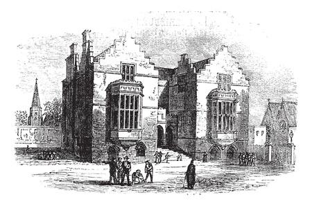 Harrow school vintage engraving. Old engraved illustration of harrow architecture, during 1800s. Stock Illustratie
