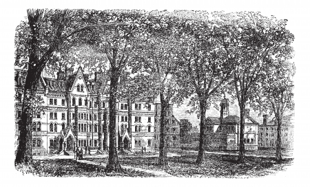 Harvard University, Cambridge, Massachussets vintage engraving. Old engraved illustration of Harvard University campus, during 1890s. 向量圖像