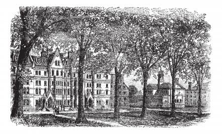 massachussets: Harvard University, Cambridge, Massachussets vintage engraving. Old engraved illustration of Harvard University campus, during 1890s. Illustration