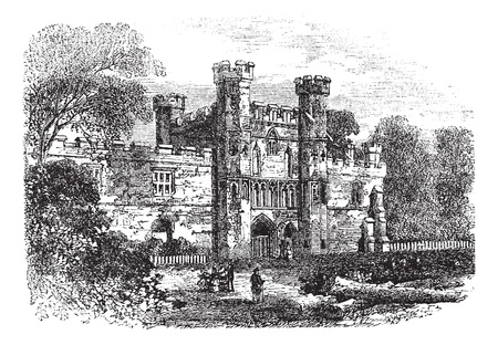 abbey: Battle Abbey, Hastings, East Sussex, England vintage engraving. Old engraved illustration of ruins of Battle Abbey in East Sussex, during 1800s. Illustration
