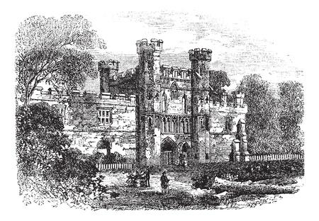 Battle Abbey, Hastings, East Sussex, England vintage engraving. Old engraved illustration of ruins of Battle Abbey in East Sussex, during 1800s. Illustration