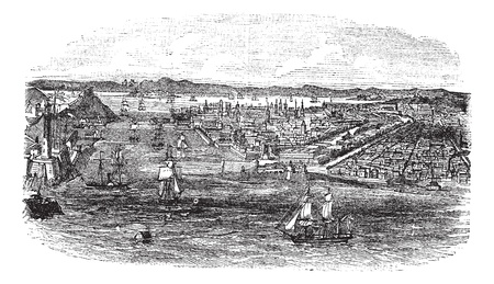 havana cuba: View of havana city, Cuba vintage engraving. Old engraved illustration of havana cityscape and boats at sea during 1890s. Illustration