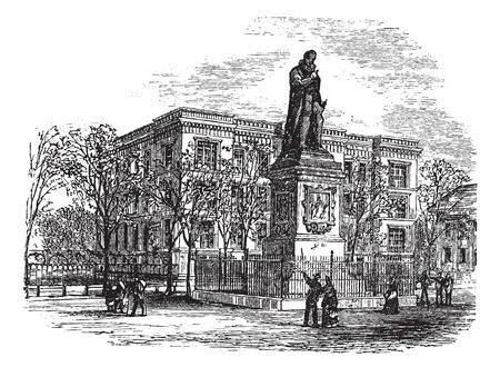 mauritius: Statue of William I or Prince of Orange or William the Silent or William of Orange at The hague vintage engraving. Old engraved illustration of William the Silents statue at Hague, Netherlands, during the 1980s.