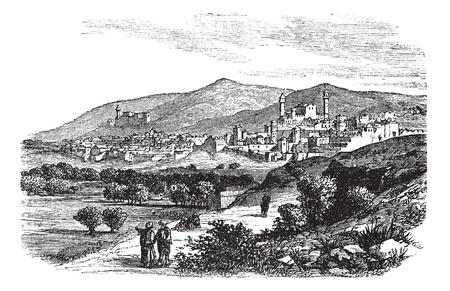 建物とヘブロン ビンテージ彫刻で山の美しい景色。古い建物とヘブロンで山の斜面のイラスト 1800 年代刻まれています。  イラスト・ベクター素材