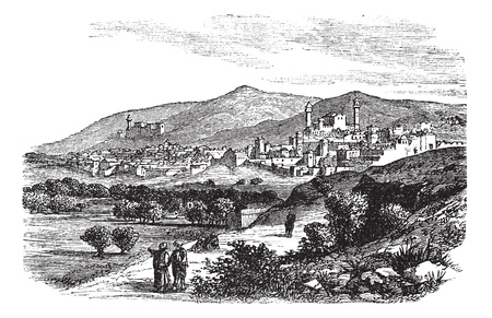 the slope: Beautiful view of buildings and mountain at Hebron vintage engraving. Old engraved illustration of buildings and mountain slope at Hebron, 1800s.