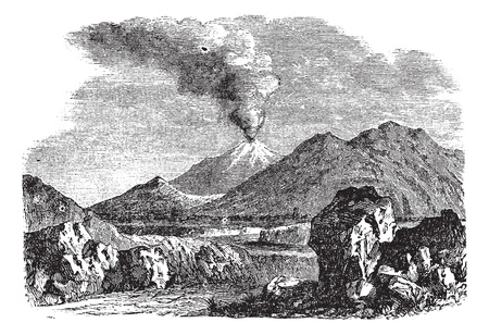 iceland: Hecla or Hekla a volcanic mountain of Iceland vintage engraving. Old engraved illustration of Hecla a volcanic mountain, 1800s.