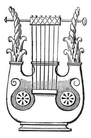 arpa: Heptacorde época grabado. Ilustración del Antiguo grabado de heptacorde antiguo instrumento musical.