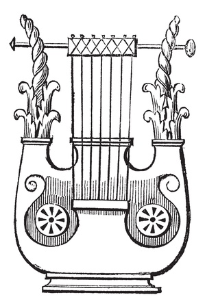 stringed: Heptacorde vintage engraving. Old engraved illustration of antique musical instrument heptacorde.