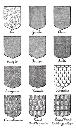 enamel: Variety of enterprise enamels used in Heraldry vintage engraving. Old engraved illustration of enamel colors from Heraldry.