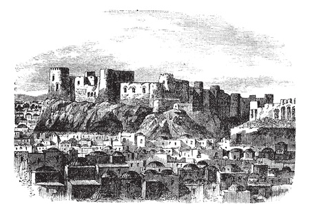 Citadel of Herat, Afghanistan vintage engraving. Old engraved illustration of citadel of herat, 1800s. Stock Vector - 13772204