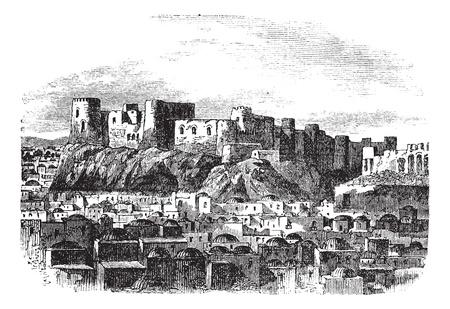 citadel: Citadel of Herat, Afghanistan vintage engraving. Old engraved illustration of citadel of herat, 1800s.