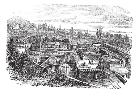 Ruins at Herculaneum or Ercolano, Italy vintage engraving. Old engraved illustration of the ancient ruins at Herculaneum, 1890s.
