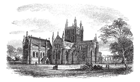 Hereford Cathedral,England vintage engraving. Old engraved illustration of historic hereford cathedral,England, 1800s.