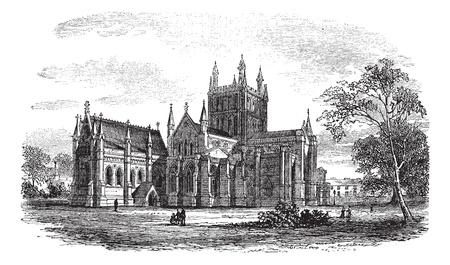 hereford: Hereford Cathedral,England vintage engraving. Old engraved illustration of historic hereford cathedral,England, 1800s.