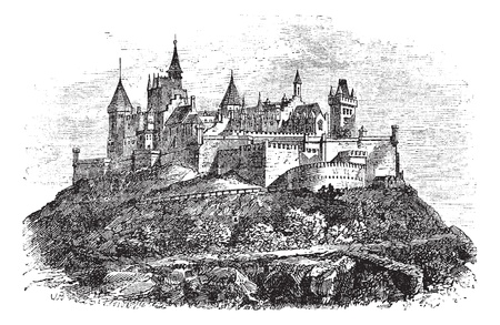 Hohenzollern Castle or Burg Hohenzollern in Stuttgart, Germany, during the 1890s, vintage engraving. Old engraved illustration of Hohenzollern Castle.