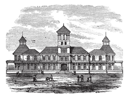 Honolulu government building in Hawaii, America, during the 1890s, vintage engraving. Old engraved illustration of Honolulu government building with people in front. Vector