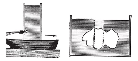 buoyancy: Archimedes principle, vintage engraving. Old engraved illustration of Archimedes principle isolated on a white background.