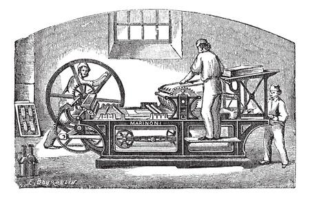 maschinenteile: Marinoni Druckmaschine, Vintage-Gravur. Alt eingraviert Darstellung Marinoni Druckmaschine mit drei Arbeitern in Betrieb nehmen.