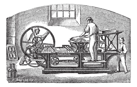 Marinoni printing press, vintage engraving. Old engraved illustration of Marinoni printing press with three workers operating it. Vector