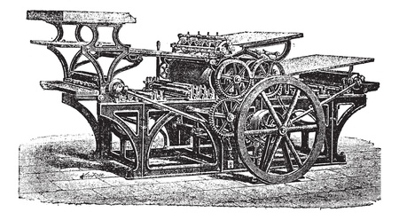 inventions: Marinoni  double printing press, vintage engraving. Old engraved illustration of Marinoni double printing press. Illustration