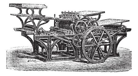 Marinoni  double printing press, vintage engraving. Old engraved illustration of Marinoni double printing press. Vectores