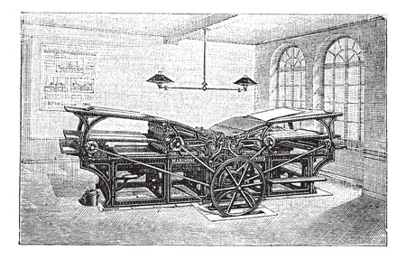 m�quina: Marinoni imprenta doble, grabado en la vendimia. Ilustraci�n del Antiguo grabado de la prensa de impresi�n a doble Marinoni en la f�brica.
