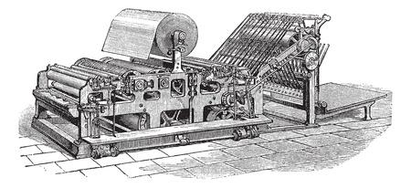 鍬 web 輪転機、ヴィンテージの彫刻。古い鍬 web 両面機のイラストを刻まれています。  イラスト・ベクター素材