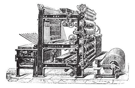 m�quina: Marinoni imprenta de Rotary, el grabado de la vendimia. Ilustraci�n del Antiguo grabado de prensa Marinoni impresi�n de Rotary.