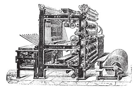 Marinoni Rotary printing press, vintage engraving. Old engraved illustration of Marinoni Rotary printing press.