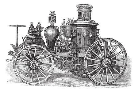 アモスケイグ蒸気の消防車ビンテージ彫刻。古いは、アモスケイグ蒸気の消防車のイラストを刻まれています。