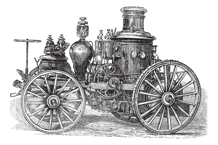inventions: Amoskeag  Steam-powered Fire Engine, vintage engraving. Old engraved illustration of Amoskeag Steam-powered Fire Engine. Illustration