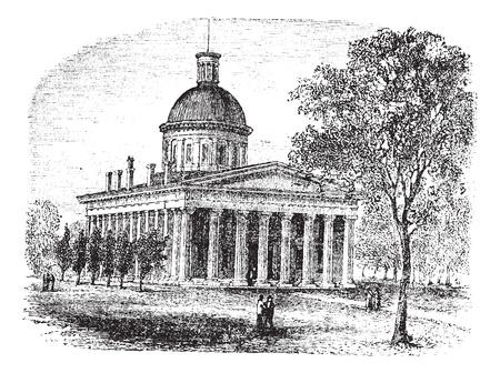 governmental: Indiana Statehouse en Indiana, Estados Unidos, durante la d�cada de 1890, el grabado de la vendimia. Ilustraci�n del Antiguo grabado de la C�mara Legislativa de Indiana con los �rboles y la gente en el frente.