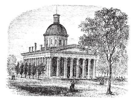 legislative: Indiana Statehouse in Indiana, America, during the 1890s, vintage engraving. Old engraved illustration of Indiana Statehouse with trees and people in front.