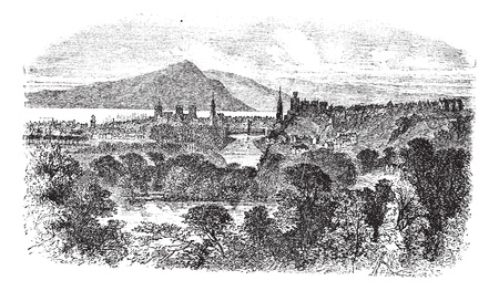 インバネス、1890 年代の間にスコットランドでヴィンテージの彫刻。古い木々 や川の前部のインバーネスのイラストを刻まれています。